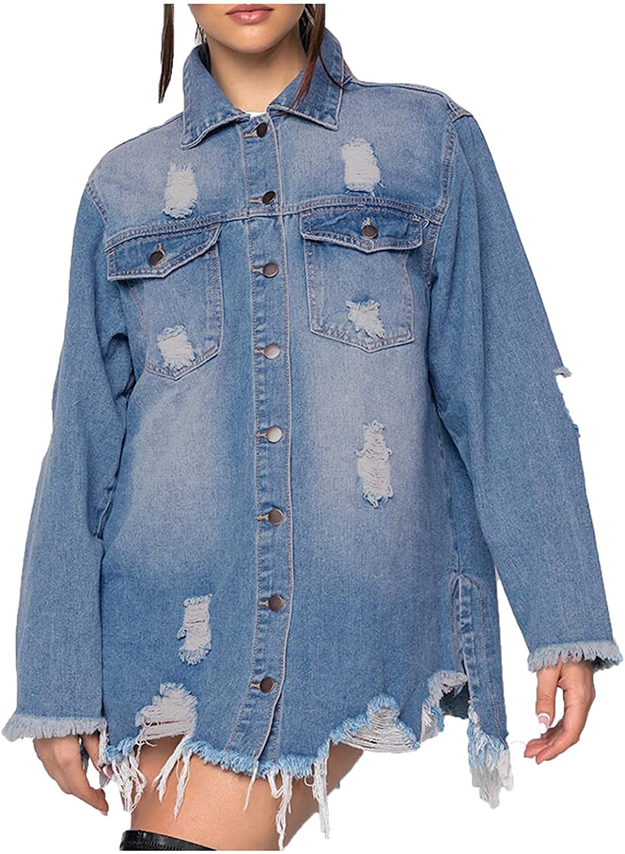 Beppter Women Jean Jacket Casual Long Sleeve Lapel Button Down Boyfriend Ripped Mid Denim Jacket Oversize Coat Plus Size