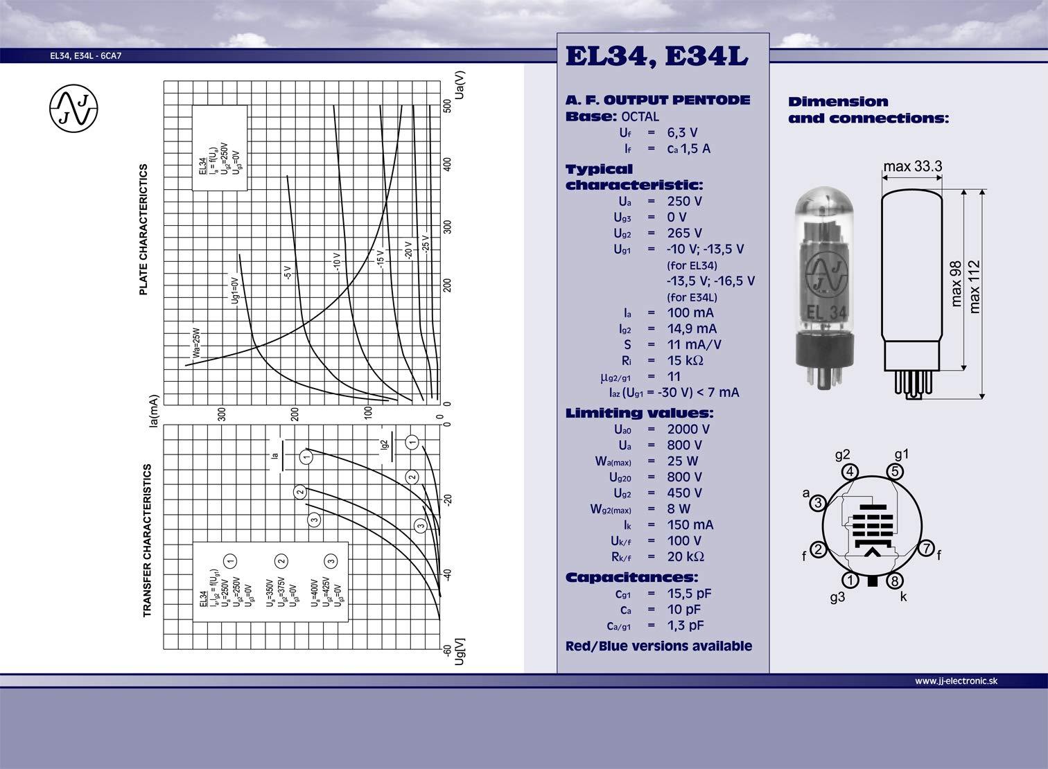 4 unidades JJ EL34 Tubos de extensi/ón
