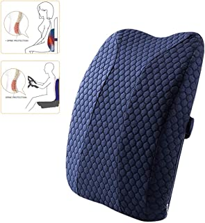 Gluckluz Lumbar Pillow Back Support Ergonomic Memory Foam Backrest with Adjustable Strap for Office Chair Car Seat Pain Re...