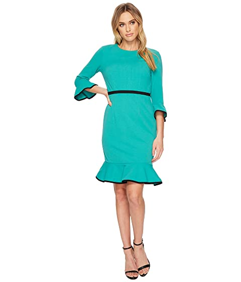 Shift 3 4 Morgan Piping Sleeve Contrast Donna Detail Dress w Crepe Ow5ZxwEqX