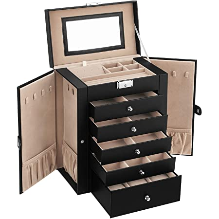 Amazon Com Songmics Jewelry Box For Women Jewelry Organizer With 2 Drawers Lockable Jewelry Case With Mirror Portable Travel Case For Rings Earrings Necklaces Gift Black Ujbc121b Furniture Decor