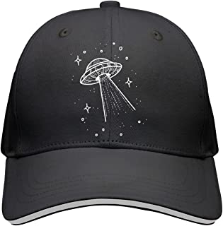 Sandwich Peak Cap Adjustable Cap Black UFO Alien Starry Night Sky Cool Peaked Hat for Boy and Girls