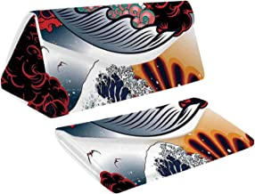 Modern Decor Colorful Foldable Glasses Case,Seamless Oriental,for Work