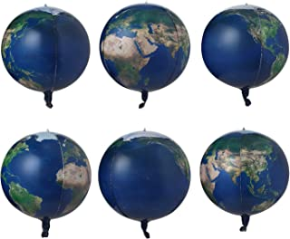 6 Count 22 inch Earth Balloons Sphere World Map Balloons Planet Printing Mylar Globe Balloons Foil Balloon For Teaching Sp...