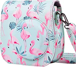 Protective Case for Fujifilm Instax Mini 9 8 8+ Instant Film Camera with Accessory Pocket and Adjustable Strap-Flamingos by SAIKA