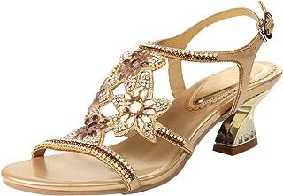 Honeystore Women's Flower Rhinestones Louis Heel Sandals Shoes Wedding