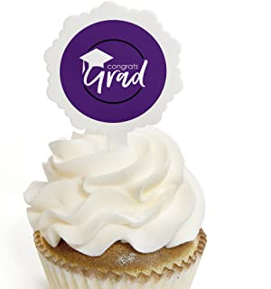 Purple Grad - Best is Yet to Come - Cupcake Picks with Stickers - Purple Graduation Party Cupcake Toppers - 12 Count