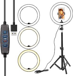 """ZITFRI Anillo de luz LED 10"""", 3 Modos Aro de Luz con Trípode, 10 Brillos Regulable a 6500K, con Soporte de Teléfono para M..."""