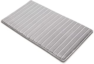 MICRODRY Extra-Thick, SoftLux, Charcoal-Infused Memory Foam Bath Mat with GripTex Skid-Resistant Base (21x34, Silver)