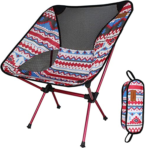 Yuqianqian Chaise De Camping Portable Chaise de Camping Pliante légère de Chaise de pêche avec Le Sac de Transport pour la randonnée, pêche, Plage, Randonneur résistant 200lb (Couleur   rouge)