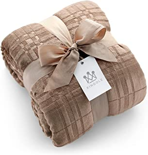 Kingole Flannel Fleece Microfiber Throw Blanket, Luxury Caramel Grid Pattern King Size Lightweight Cozy Couch Bed Super Soft and Warm Plush Solid Color 350GSM (108 x 90 inches)