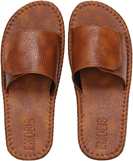Emosis Men's Slipper Cum Sandal - Latest & Stylish Synthetic Leather - for Outdoor Formal Office Casual Ethnic Daily Use - Available in Grey Brown Olive Blue Black Color - 0437M