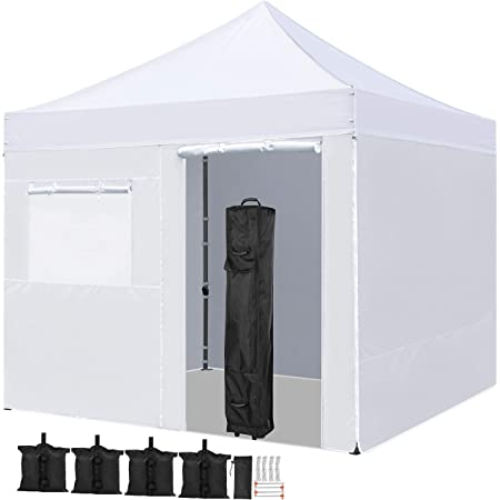 YAHEETECH 10x10 Pop Up Canopy Tent Folding Wedding Party Commercial Event Pavilion Waterproof with 4 Removable Sidewalls Panels, White