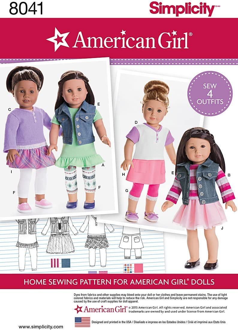 Use to Make Simplicity Sewing Pattern S8942 Characters Doll Clothes for 18 Inch Dolls