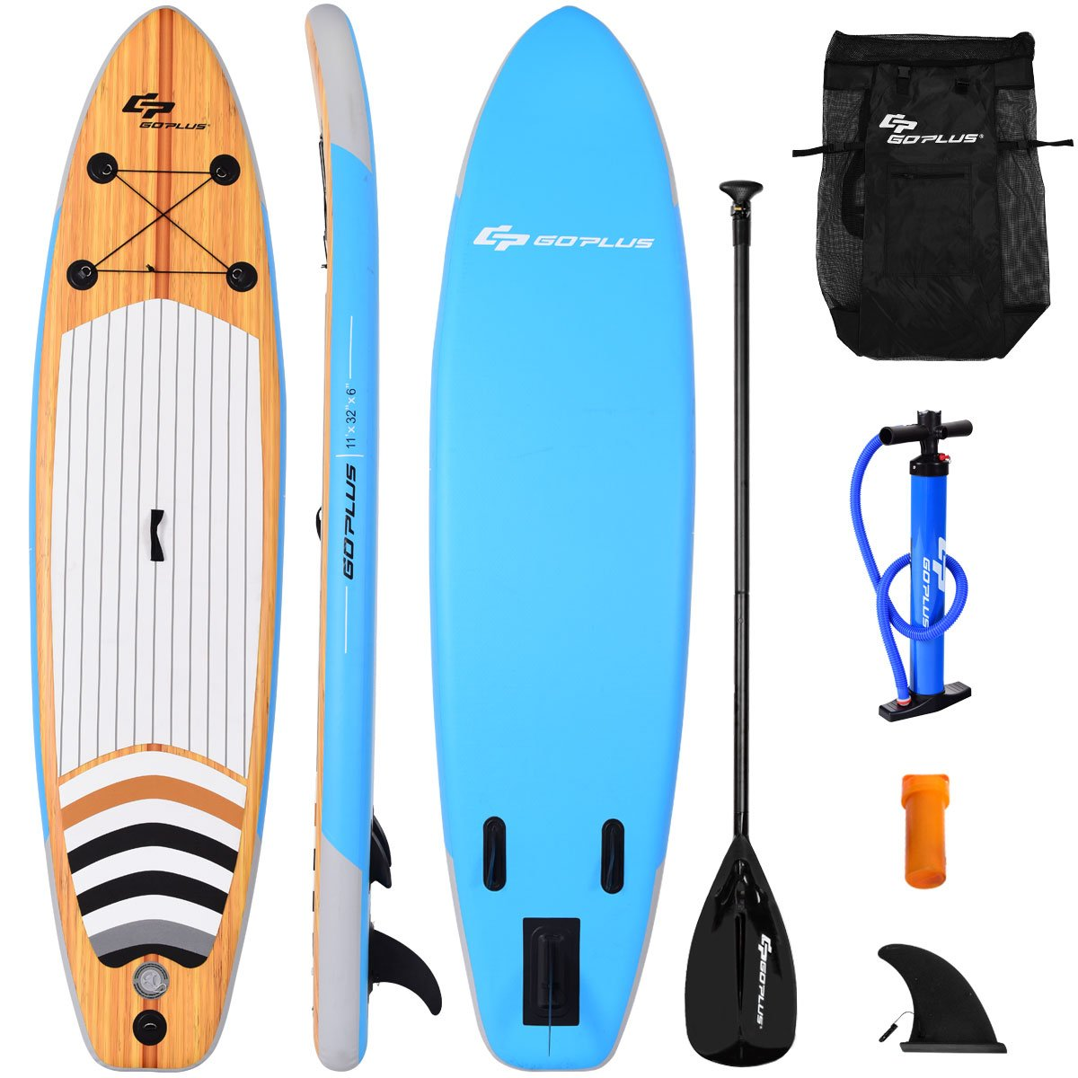 SPSUPE 11ft Stand up Paddle Board, Inflatable Surfboard with Retractable Paddle, Body Surfing Board, Pump Included, Removable Center Fin, Wax Free, Ideal SUP Board for Beginners, Teens, and Adults