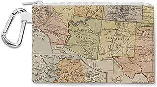 Vintage South West USA Map Canvas Zip Pouch - Multi Purpose Pencil Case Bag