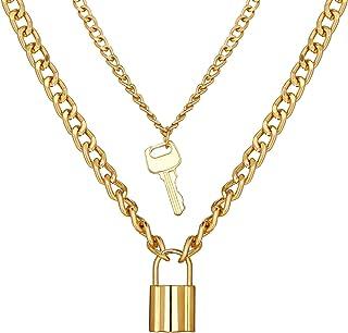 SX Commerce Personalized Retro Simple Key Lock Pendant Necklace