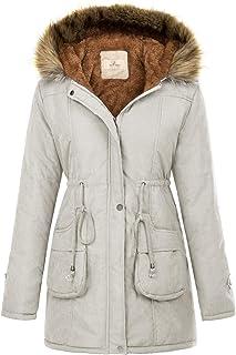 GRACE KARIN Womens Hooded Warm Winter Thicken Fleece Lined Parkas Long Coats