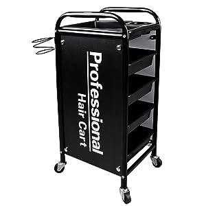 Kalolary 5 Tier Salon Rolling Trolley Cart, Metal Hair Salon Instrument Storage Cart, Bilateral Tray Multipurpose Tool Cart Mobile Storage Organizer for Beauty SPA Tattoo Salon