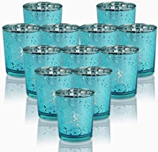 SHMILMH Aqua Blue Votive Candle Holders, Set of 12 Mercury Glass Tealight Candle Holders Bulk with Speckled for Wedding Ce...