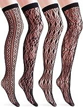 VERO MONTE 4 Pairs Women's Fishnet Thigh High Socks - Stylish Black + Hollow Out