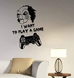 Video Game Wall Vinyl Decal Gamepad Joystick Vinyl Sticker Jigsaw Quote Art Best Saw Movie Horror Decorations for Home Bedroom Room Gaming Decor Made in USA Fast Delivery