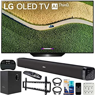 LG OLED65B9PUA B9 65-inch 4K HDR Smart OLED TV with AI ThinQ (2019) Bundle with Deco Gear 60W Soundbar with Subwoofer, Wall Mount Kit, Deco Gear Wireless Keyboard and 6-Outlet Surge Adapter