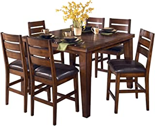 Ashley Furniture Signature Design - Larchmont Dining Room Table - Counter Height with Built-in Extension - Vintage Casual - Burnished Dark Brown