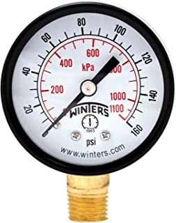 Winters PEM Series Steel Dual Scale Economical All Purpose Pressure Gauge with Brass Internals, 0-160 psi/kpa 2
