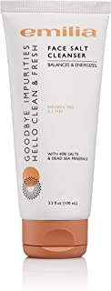 Emilia Face Salt Cleanser - Acne Face Wash Dead Sea Salt Scrub Treatment - Energizing & Exfoliating Face Scrub for Natural Deep Spa Facial - Paraben-Free & SLS-Free with Natural Minerals