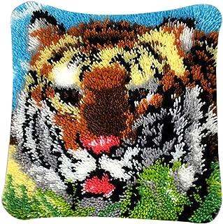 PARIO Stickpackung Tiger Kissenbezug 40x40 cm Kissen Hülle Latch Hook Kit Stickbild Sticken Kreuzstich Stickerei Stricken Basteln Handarbeit Stickset für Kinder und Erwachsenen