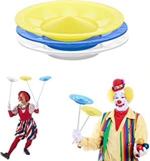 YuXing 3 Spinning Plates / Juggling Plates (White Blue Yellow) with 3 Professional Sticks