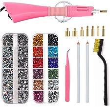 Hotfix Applicator, BLINGINBOX 4000pcs 2 Boxes Mix Color Hot Fix Rhinestones Set with 7 Different Nozzles Cleaning Kit Tweezers Brush