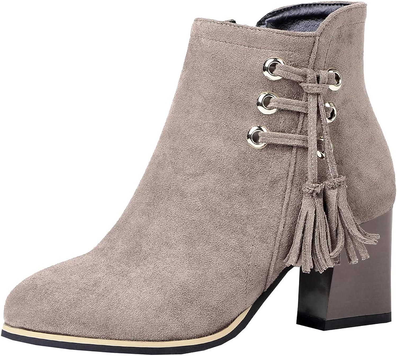 Artfaerie Womens Fringe Ankle Boots Lace Up Block Heel Boots Zipper Winter Warm Booties