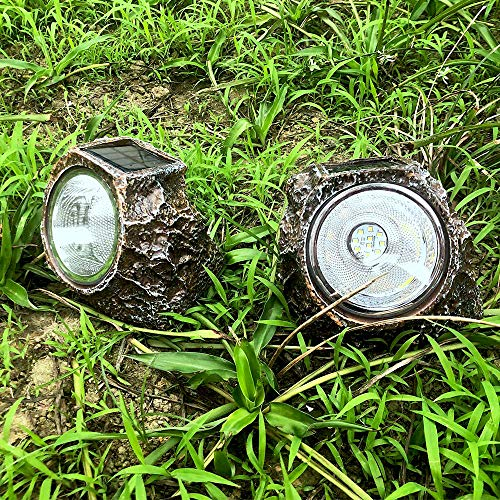 Solar Garden Rock Lights Outdoor, 2 Pack 10 LED Waterproof Solar Powered Rock Light, Outdoor Landscaping Spotlights, for Indoor and Outdoor Decoration