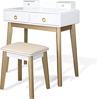 White Computer Desk Writing Study Table with 4 Drawers