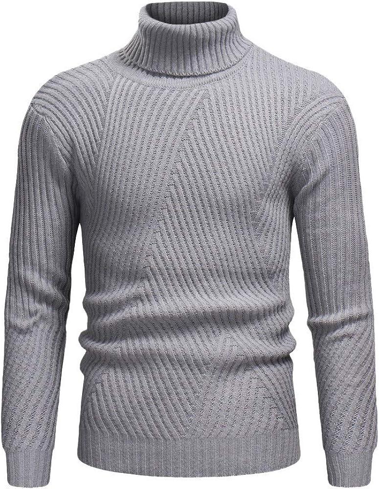 MODOQO Men's Sweaters Long Sleeve Turtleneck Warm Soft Breathable Pullover Knitwear