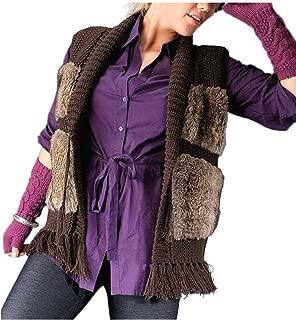 Your Life Your Fashion Damen Strickweste mit Webpelz braun