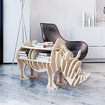Wooden Rhino Home Decor Shelf Festnight Personalized Bookshelf Handmade Book Organiser Coffee Table Side Table Can Bear 50 kg