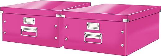 Leitz, Große Aufbewahrungs- und Transportbox, Mit Deckel, Für A3, Click & Store (Pink | 2er Pack)