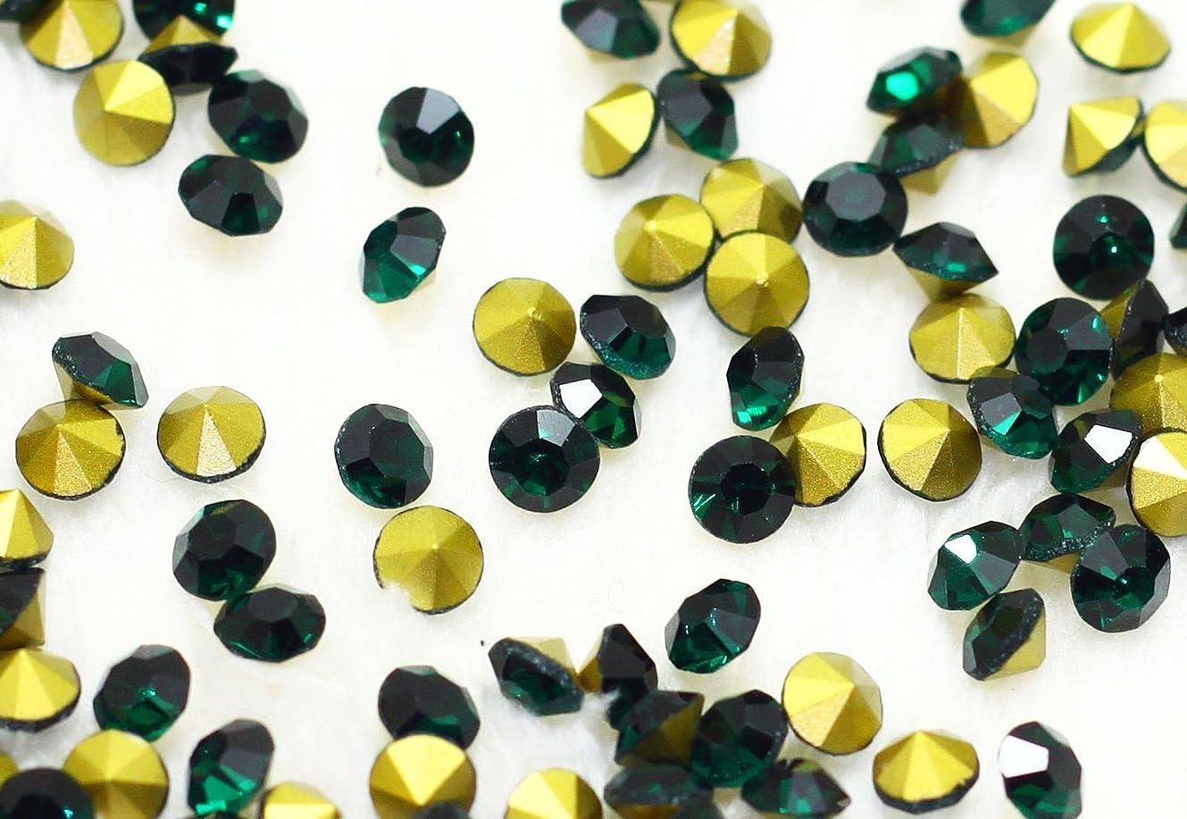 モロニック殺人者宣言するガラス製 Vカットストーン(埋込型)emerald エメラルド 各サイズ選択可能 (4.0mm (SS16) 約1440粒) [並行輸入品]
