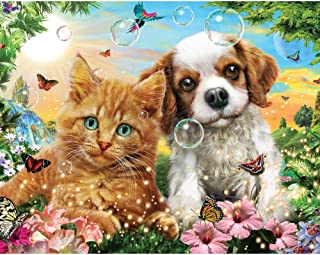 Bits and Pieces - 200 Large Piece Jigsaw Puzzle - Kitten and Puppy - 200 pc Cat and Dog Jigsaw by Artist Adrian Chesterman