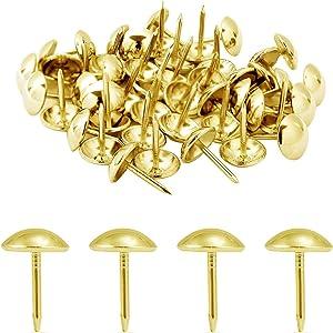 300 Pcs Steel Thumb Tacks,Furniture Decorative Tacks,Nail Head Trim Upholstery Brass Tacks, Thumb Tack Push Pins for Sofa, Chair, Bed and Other Furniture(Gold)