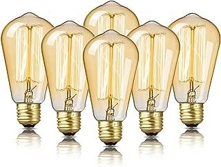 6-Pack Edison Bulb, DecorStar Edison Light Bulbs, Antique Vintage Light Bulb, 60W, 2200K Amber Warm, 230 Lumens, 110V, E26, ST58 Dimmable Edison Lights for Home Light Fixtures and Decorative