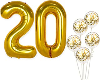 Number 20 and Gold Confetti Balloons - Large, 40 Inch Foil Gold Balloons | 5 Gold Confetti Balloons, 12 Inch | 20th Birthday Party Decorations | Party Supplies for Anniversary Dcor
