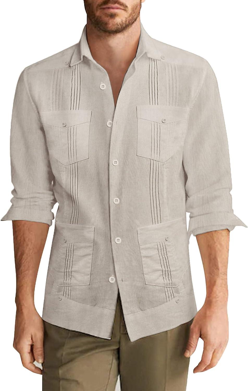 COOFANDY Men's Long Sleeve Cuban Guayabera Shirt Casual Button Down Cotton Linen Beach Wedding Shirt