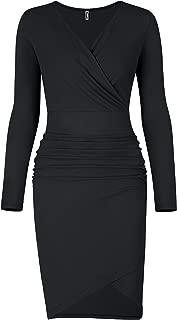 Missufe Women's Long Sleeve Ruched Mini BodyconSheath Wrap Dress