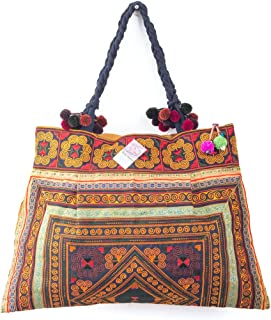 Changnoi Unique Hmong Hill Tribes Tote Bag Embroidered Fabric Large Size