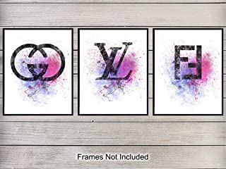 Gucci, Louis Vuitton, Fendi Art Prints - Contemporary Wall Art Poster Set - Chic Modern Home Decor for Bedroom, Bathroom, Living Room - Great Gift for Women - 8x10 Watercolor Photo - Unframed