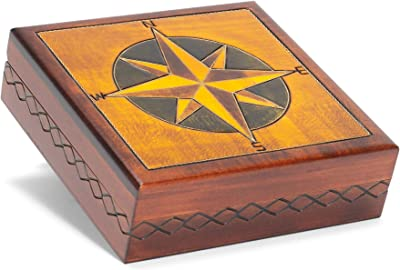 M. Cornell Compass Eight Point Natural Brown 6 x 6 Solid Wood Decorative Square Box